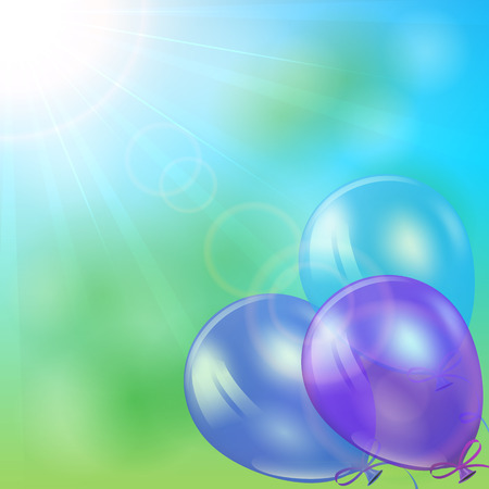 inflating: Three balloons flying on Sun background, illustration  Illustration