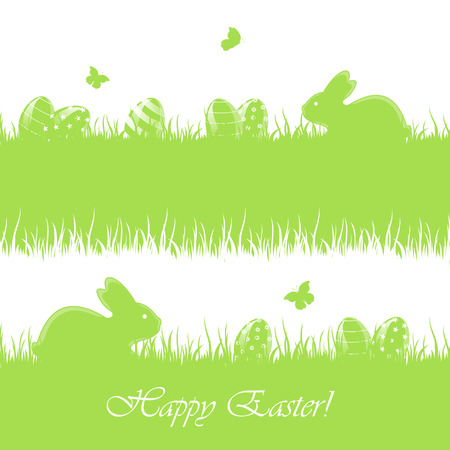 jackrabbit: Green Easter banners with little rabbits and eggs in a grass, illustration  Illustration