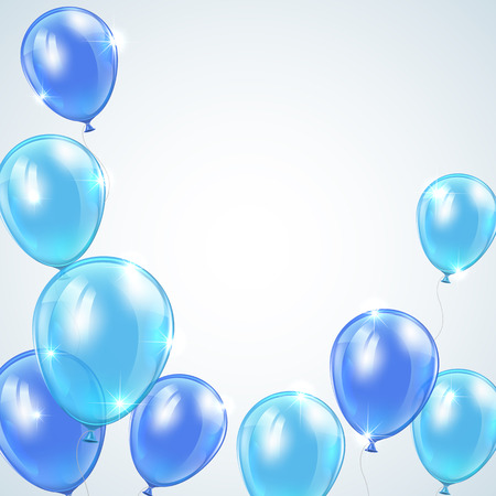 inflating: Set of blue balloons flying on gray background, illustration