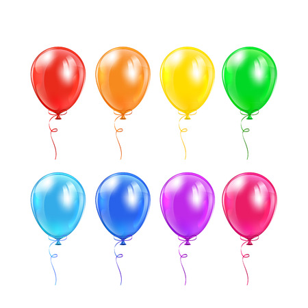 inflating: Set of colored balloons with bow isolated on a white background, illustration  Illustration