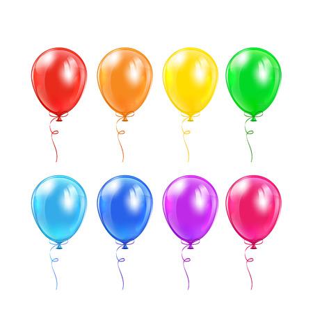 Set van gekleurde ballonnen met strik geïsoleerd op een witte achtergrond, illustratie