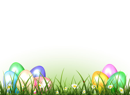 Set of colored Easter eggs with ladybugs in a grass, illustration  Vector