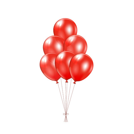 inflating: Set of red balloons with bow isolated on a white background, illustration  Illustration
