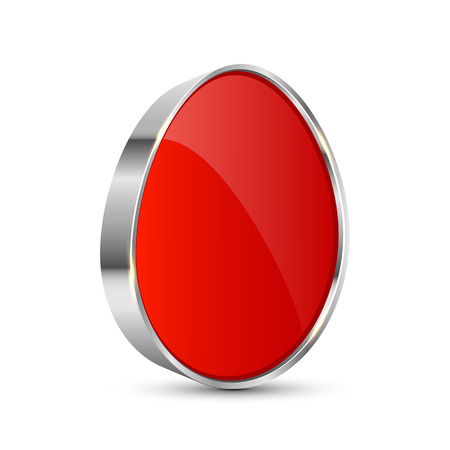 Red button in the form of egg, illustration  Vector