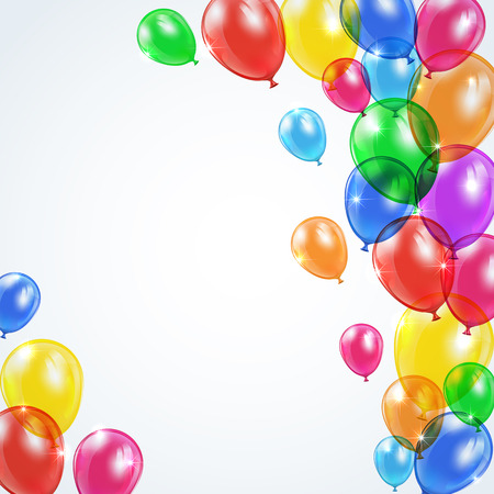 Set of colored balloons flying on gray background, illustration  일러스트