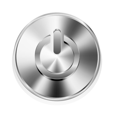 power switch: Metal power button isolated on a white background, illustration