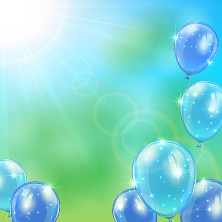 inflating: Blue balloons flying on a shiny background, illustration