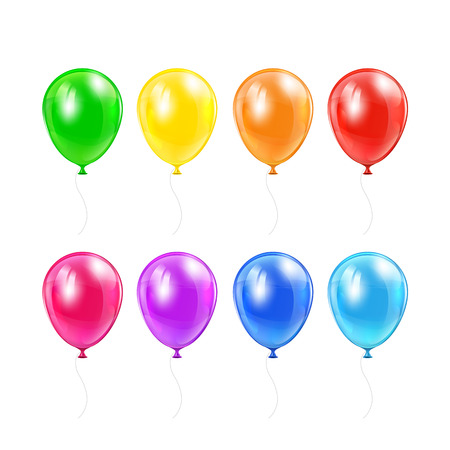 inflating: Set of flying colored balloons isolated on a white background, illustration  Illustration
