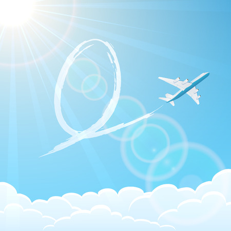 White airplane on blue sky background with Easter egg, illustration  Vector