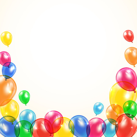 inflating: Holiday background with flying colored balloons, illustration