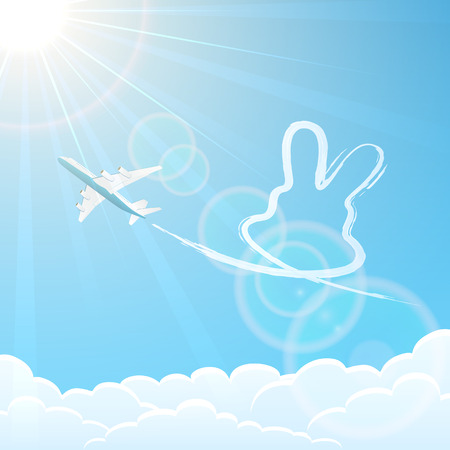 White airplane on blue sky background with rabbit, illustration  Vector