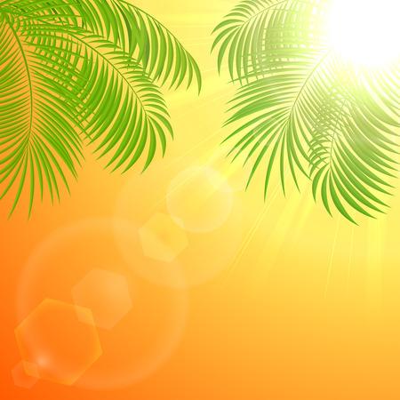 Palm Blätter auf einer glänzenden orangefarbenen Hintergrund, Illustration