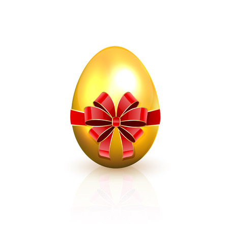 Golden Easter egg with red bow isolated on a white background, illustration  Vector