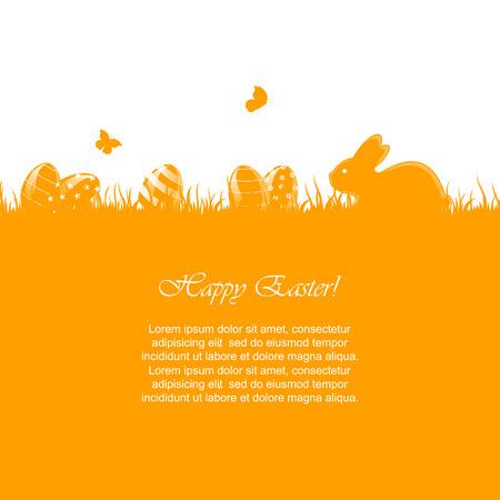 Pasen oranje achtergrond met weinig konijn en eieren in een gras, illustratie