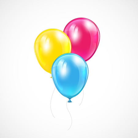 inflating: Three flying colored balloons on white background, illustration