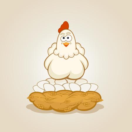 hatchling: Hen in a nest on eggs, illustration