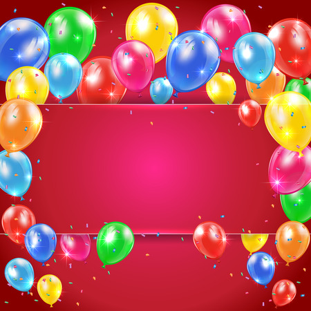 inflating: Flying colored balloons on red holiday background with banner, illustration