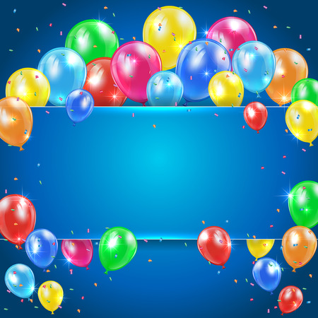 Flying colored balloons on blue holiday background with banner, illustration  Illustration