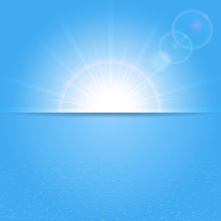 Background with shining Sun and water, illustration  Vector