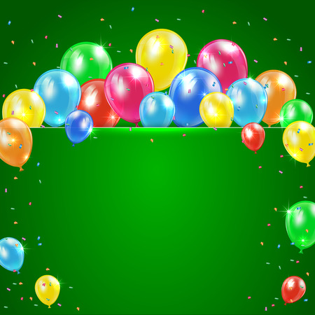 inflating: Flying colored balloons on green holiday background with banner, illustration  Illustration