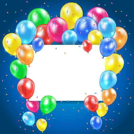 ballons: Flying colored balloons on blue holiday background with card, illustration