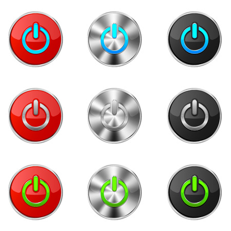 Set of power buttons isolated on a white background, illustration  Vector