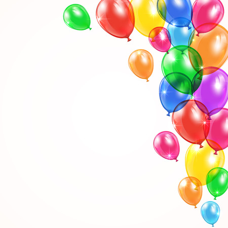 Set of colored balloons flying on white background in corner, illustration