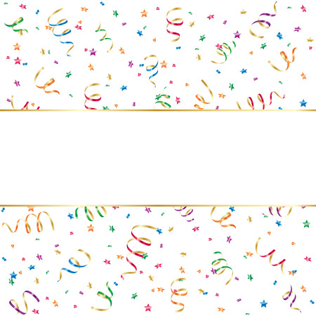 trumpery: Seamless background with party streamers and confetti, illustration