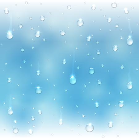 rain window: Shiny water drops on blue glass, illustration