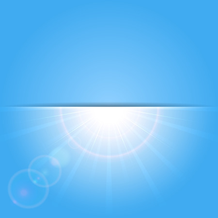 Abstract blue background with shining Sun, illustration