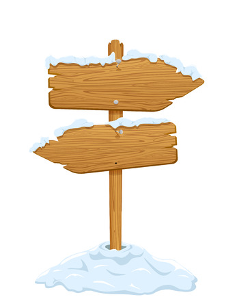 Wooden sign with snow isolated on white background, illustration  Vector