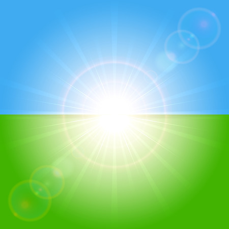 sun illustration: Green and blue background with shining Sun, illustration