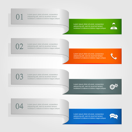 Set of horizontal infographics with icons, ribbons with numbered options and modern design, illustration  Vector