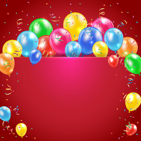 Flying colored balloons on red holiday background with streamer, illustration  Vector
