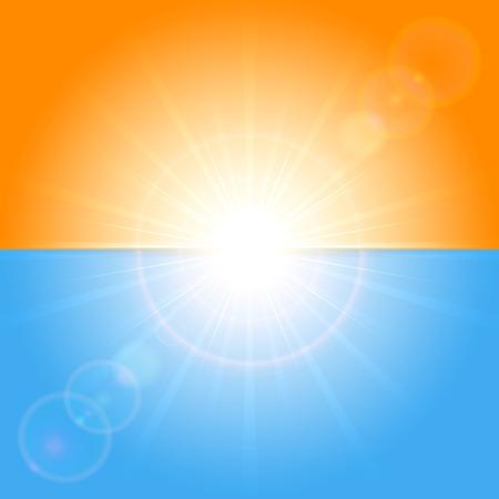 Orange and blue background with shining Sun, illustration