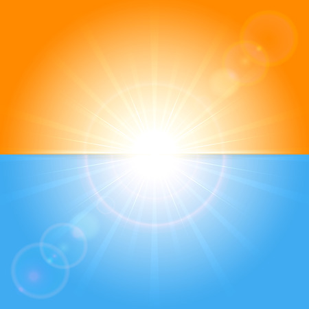 Orange and blue background with shining Sun, illustration  Vector