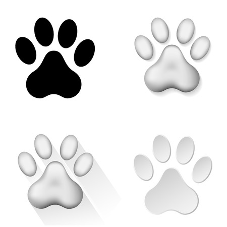 Set of icons with animal footprints on white background, illustration