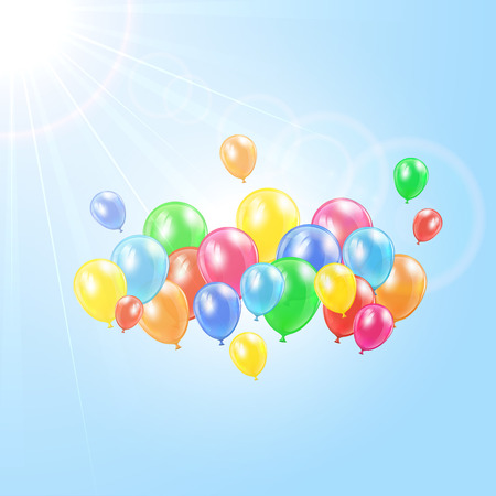 inflating: Sun and flying colored balloons on sky background, illustration