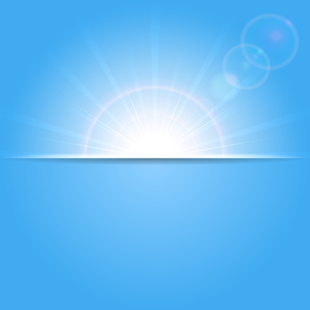 Abstract blue background with shining Sun, illustration  Vector