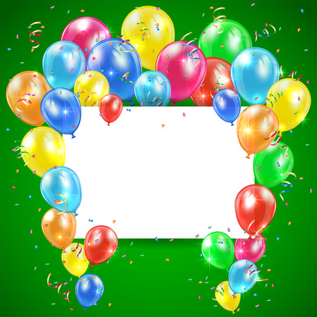 Flying colored balloons on green holiday background with card, illustration  Illustration