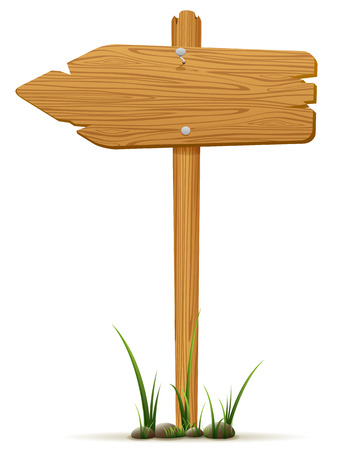 Isolated wooden sign in a grass, illustration  Illustration