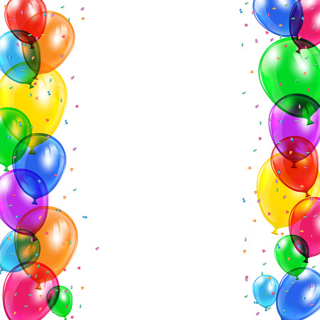 Set of colored balloons and confetti flying on white background, illustration  Illustration