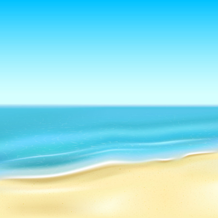 rest in peace: Background with sandy beach and the ocean, illustration