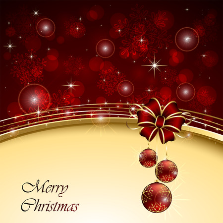 Christmas background with red bow and balls, illustration  Vector
