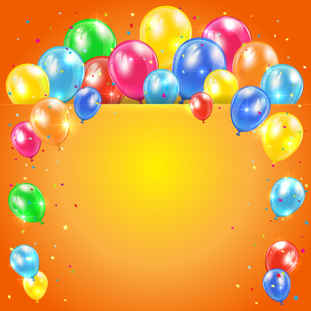 inflating: Colored balloons on orange holiday background with confetti, illustration