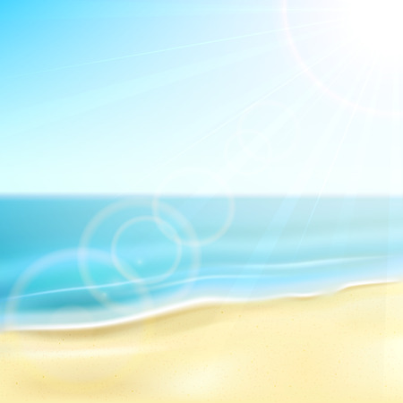 sun illustration: Sandy beach and sea with sun, illustration  Illustration