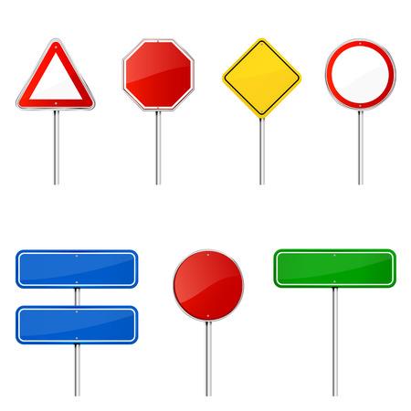 señal de transito: Señales de tráfico en blanco con el soporte aislado en un fondo blanco, ilustración