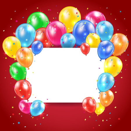 Flying colored balloons on red holiday background with card, illustration