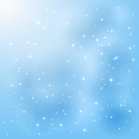 Shiny blue background with stars and blurry lights, illustration  Illustration
