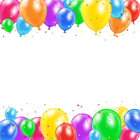 Set of colored balloons and confetti in the form of star flying on white background, illustration